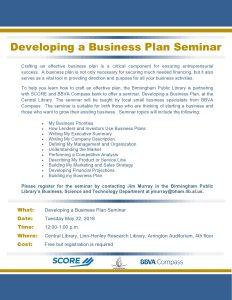 Developing a Business Plan Seminar