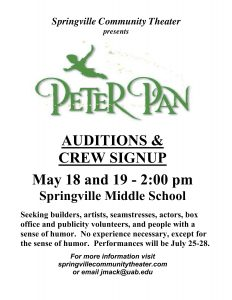 Peter Pan - Auditions and Crew Sign-Up