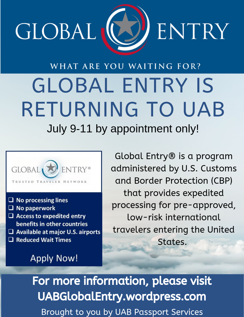 Global Entry UAB presented by UAB Passport Services | Birmingham365 org