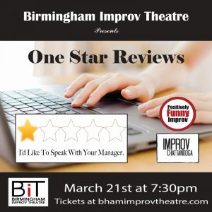 """PFI and Improv Chattanooga Presents """"One Star Reviews!"""""""