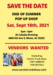 End of Summer Pop-up Shop at Cahaba Brewing Co.