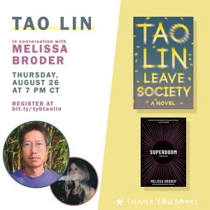 AUTHOR EVENT: Tao Lin in conversation with Melissa Broder
