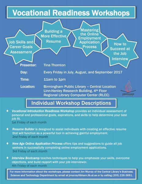 Resume Builder Workshop presented by Birmingham Public Library ...
