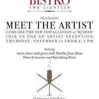 Artist Reception for Martha Jean Shaw at Bistro 218